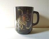Vintage Scorpio Milk Glass Mug Cup - Black & Gold - Zodiac Sign