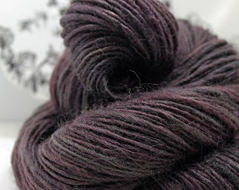 Handspun Yarn Gently Thick and Thin Single Superfine Alpaca and Soy Silk 'Cherry Cola'
