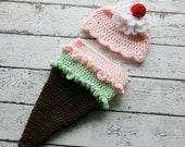 Baby Ice Cream Cone Costume, Newborn Halloween Costume, Ice Cream Cone Costume, Bunting Costume, Ice Cream Sundae Set, Ice Cream Photo Prop