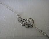 Sterling Silver Bracelet, Leaf Bracelet, Floral Jewelry, Dainty Layering Bracelet