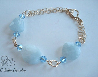Aquamarine Bracelet, Multi strand Bracelet, Gold Bracelet, March Birthstone Bracelet