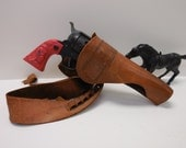 Vintage toy Gun and leather Holster Horse Cattle roping Western Cowboy