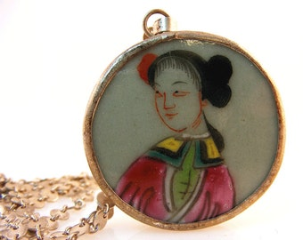 Asian Woman Pottery Shard Necklace Vintage Chinese Lady Sterling Chain