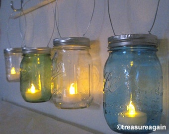 Hanging Mason Jar Luminary Lantern Lids, Mason Jar Decor Sets of 6 to 12 DIY Tea Light Candle Holder LIDS Only