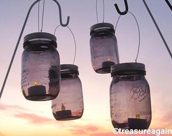 Violet Wedding Lanterns Mason Jar Lights or Vases, Amethyst Garden Wedding Decor Outdoor Lighting