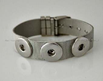 Stainless Steel 3 snap bracelet for 20 mm snap charms.  Noosa style bracelet fits Ginger snaps & other snap charms.