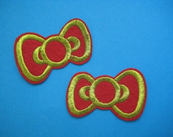 2 pcs Iron-on Embroidered Patch Bow Hair Clip 2.5 inch