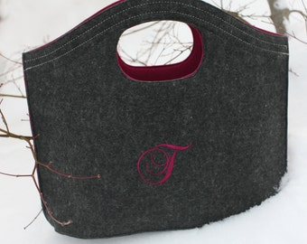 Personalized Embroidered-Felt Hobo Tote- Great bridal parties, clubs, teams or add your own design