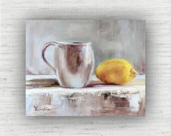 Tea with Lemon - Art Print of Painting - Large Wall Art Print on Wood Block