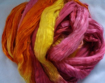 """Hand Dyed Cultivated Silk Sliver  1 Oz.  """"Bollywood"""""""