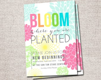 New Beginnings Invitation LDS Young Womens, Relief Society (Bloom Where You are Planted Flower Young Womens Invite)
