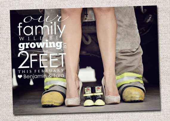 Pregnancy announcement: Printable (Growing by 2 feet photo pregnancy announcement card)
