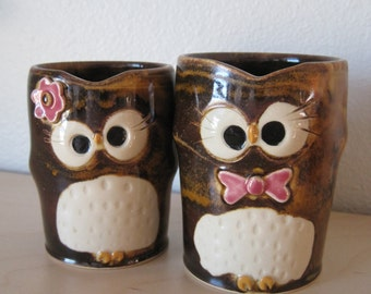 Mr and Mrs Owl Shot Glasses Cake Toppers - Wedding Keepsake Newlywed Gift - Ready to Ship