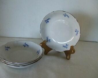 Bavarian Germany Blue Rose Buds Saucers (4) Silver Trim - Vintage - Stamped - Gifts - #320