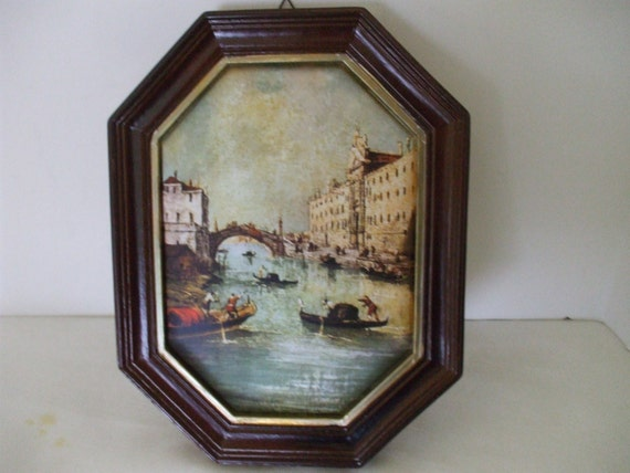 Silk Framed Venice Artwork Vintage Italian Scene Wood