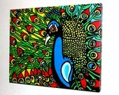 Peacock Splender - 11x14 Handpainted Acrylic Stretched Canvas Painting