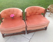 MID CENTURY MODERN Barrel Back Lounge Chairs Pair Vintage Pink Tub Chairs On Sale Unique Base Mad Men Style On Sale at Retro Daisy Girl
