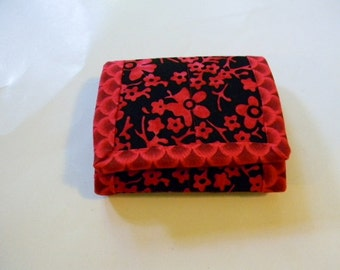 Red and Black Batik Trifold Wallet
