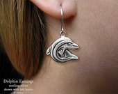 Dolphin Earrings Sterling Silver Hand Carved & Cast Fish Hook or Post