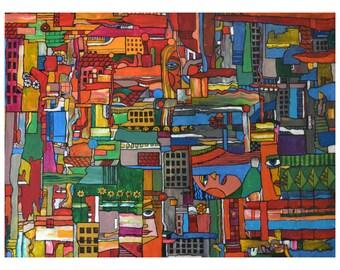 "Original Acrylic Painting Abstract Art 18x24 ""City"""
