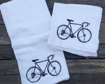 Bicycle screen printed dish towel on 100% cotton