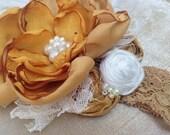 Golden Darling Couture Flower Headband