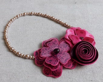Trio Collage Necklace is Shades of Hot Pink and Burdundy
