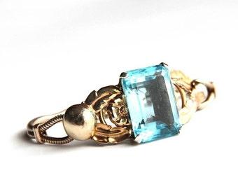 Gorgeous Art Deco Blue Baguette Bracelet Snake Chain Early Coro
