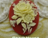 63-00-CA  2pcs (30 x 40mm) Pretty Peony Cameo - Ivory / Red