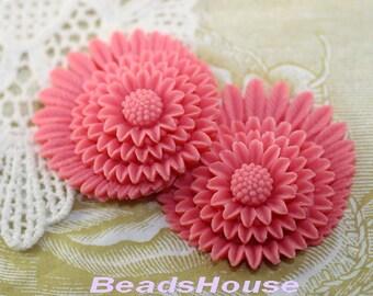 30% Off  364-CA  2pcs Beautiful Chrysanthemum Cabochon - Deep Pink