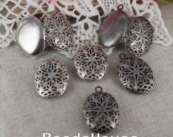 LK-100-46L  4pcs Antique Silver or Silver Plated Oval Locket Filigree,Nicket Free.
