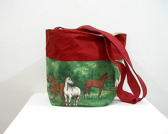 Vintage 1980s Equestrian Bag Horse Themed Cloth Shoulder Bag Handbag Tote