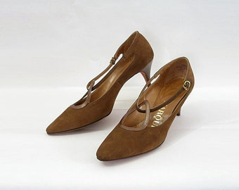 Vintage 1950s High Heels Cocoa Brown Suede Look Pumps Shoes / U.S. 8 8.5 N