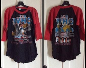 Vintage The Who 1982 Farewell Tour concert souvenir baseball tshirt size Large