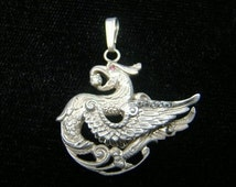 Sterling Silver Griffin Pendant  with diamonds and ruby amazingly detailed