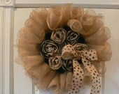 Deco/burlap wreath with handmade burlap flowers