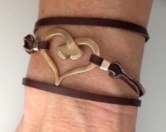 Horseshoe double nail heart - leather wrap bracelet