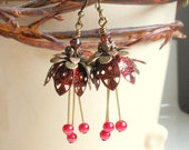Berry Red Tulip Earrings,Red Crystal Pearl Earrings,Long Dangle Earrings