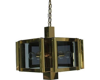 Mid Century Modern Frederick Raymond Hexagon Gold & Glass Chandelier