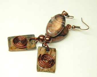 Copper Earrings, Artisan Hammered Copper Jewelry with Jasper and Spirals of Life, Steampunk Earrings, Wiccan Jewelry, OOAK Steampunk Jewelry