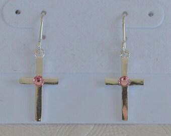 First Communion Cross Earrings Sterling Silver/Silver Confirmation Earrings/First Communion Gifts/Girl's Pink 1st Communion Earrings Gifts