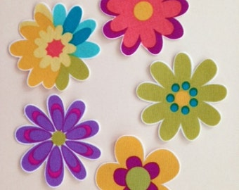 Set of 5 Daisy Appliques*Handmade*Michael Miller designer fabric/244