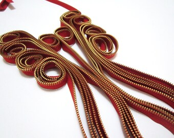 Royal Orange Zippers Textile Handmade Statement Necklace