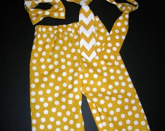 Toddler Boy's Pants, Mustard Yellow Pants and Choice of Bow tie or Necktie, Size Toddler 1, Ready to Ship