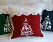 Christmas Decor, Winter Decor, Embroidered Pillow, Nordic Christmas Tree, Home Decor, Throw Pillow, Decorative Pillow, Cottage Chic