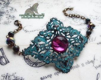 Carnivale ~ Bohemian Gypsy Adjustable bracelet ~ Aged Patina with iridescent czech glass