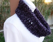 Small Purple COWL SCARF Dark Purple Black, Summer Spring Infinity Loop Handmade Crochet Knit Soft Lightweight Neck Warmer..Ready to Ship