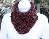 NECK WARMER SCARF Buttoned Cowl Rust Red Brown Green Tweed, Large Wood Buttons, Extra Soft Crochet Knit Scarflette..Ready to Ship in 3 Days