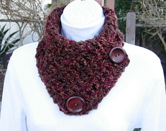 NECK WARMER SCARF Buttoned Cowl Rust Red Brown Green Tweed, Large Wood Buttons, Extra Soft Crochet Knit Scarflette..Ready to Ship in 2 Days