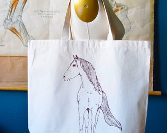 Recycled Cotton Canvas Tote Bag - Screen Printed Grocery Bag - Eco Friendly Shopper Tote - Large Tote - Farmers Market - Farmhouse - Horse